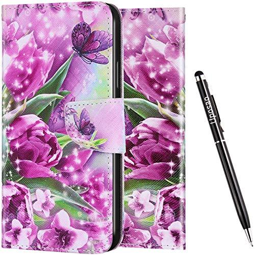 Uposao Funda para Samsung Galaxy S20 Ultra Cuero Funda Libro Caso Cubierta con Tapa,Purpurina Glitter 3D Effet Motivo Soporte Plegable, Ranuras para Tarjetas y Billetera,Cierre Magnético,Flor Purpura