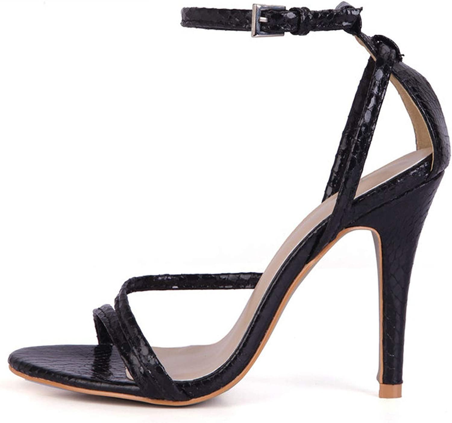 Summer Narrow Strap Buckle Sandals 10 cm Thin high Heels Open Toe shoes Woman Ankle Strap Pumps