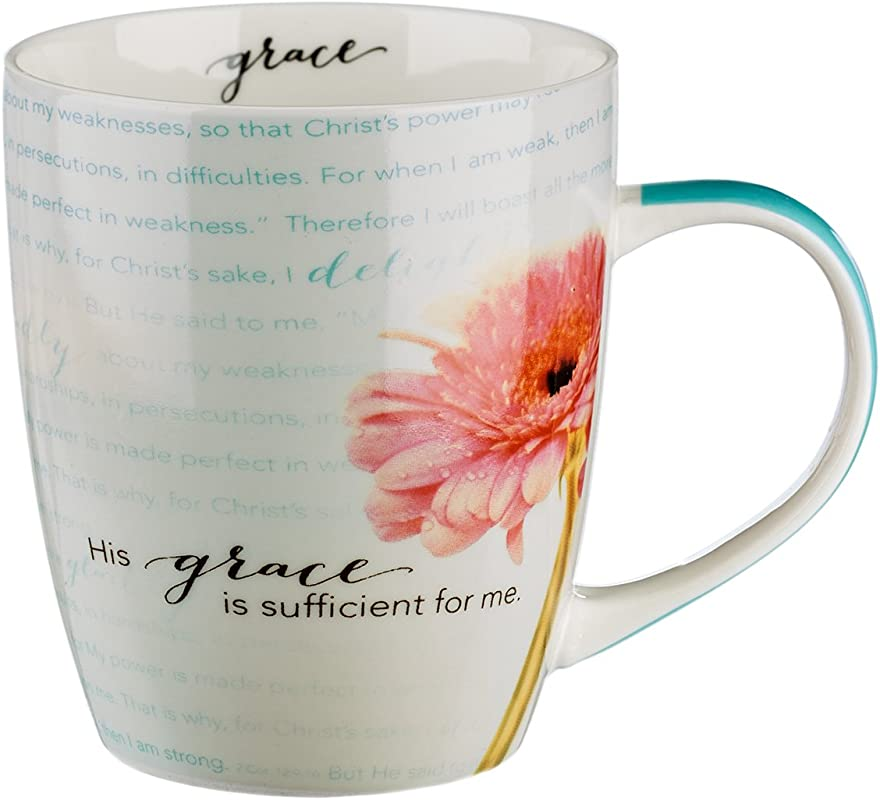 Bible Verse Mug For Women Men Chrysanthemum Scripture Mug W Pink Flowers Sufficient Grace 2 Corinthians Mug 12 9 10 Inspirational Coffee Cup Christian Gift 12 Oz Ceramic Cup