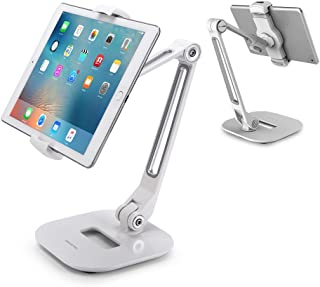 AboveTEK Long Arm Aluminum Tablet Stand, Folding iPad Stand with 360° Swivel iPhone Clamp Mount Holder, Fits 4-11