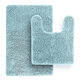 Dhfrends Ultra Soft Luxury Bath Mat, Bathroom Rugs, Dhfrends Microfiber, Absorbent Non-Slip Machine Washable, Bathroom Decor, Bath Mats for Bathroom, Shower & Tub, 20x22' & 21'x32', Spa Blue