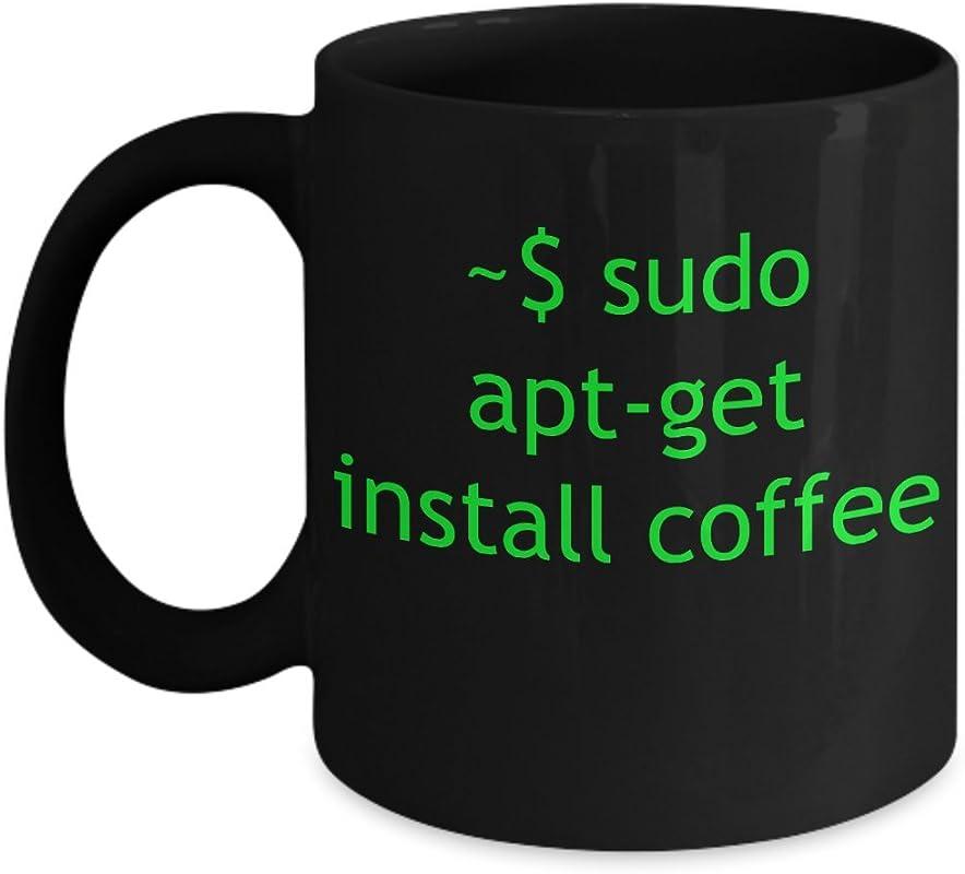 Mug Linux Apt Get Install Coffee Black Ceramic Tea Cup Gift For Computer Nerd Husband Geek Men Programmer Boyfriend