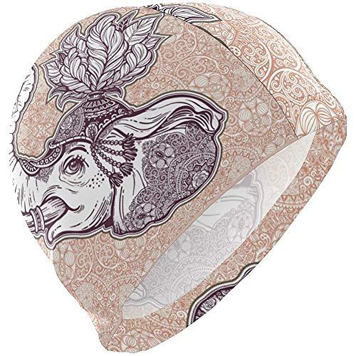 Gorro de baño Flor de Elefante étnico Sombrero de natación Cubierta Orejas Gorro de baño Antideslizante Unisex