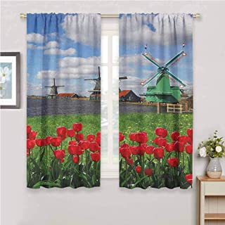 GUUVOR Windmill All Season Insulation Traditional Dutch Windmills with Red Tulips in Amsterdam Scenic Field Riverscape Noise Reduction Curtain Panel Living Room W42 x L72 Inch Multicolor