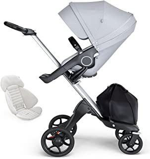 Stokke Xplory V6 Silver Chassis Stroller with Black Leatherette Handle, Grey Melange with Seat Inlay, Grey