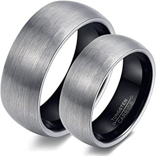 Bishilin 6MM Women Black Rings Tungsten Wedding Band Sets His and Hers Size 7