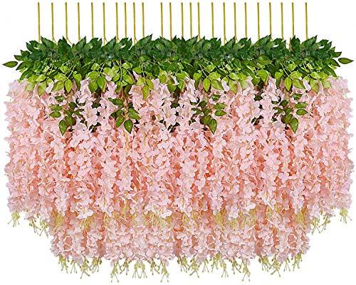 Pauwer 24 Stück Künstliche Blumen Fake Glyziniengirlande Blumengirlande Hängende Blauregen Seidenblumen für Heimdekoration Hochzeiten Hause Garten Party (Fleisch rosa)