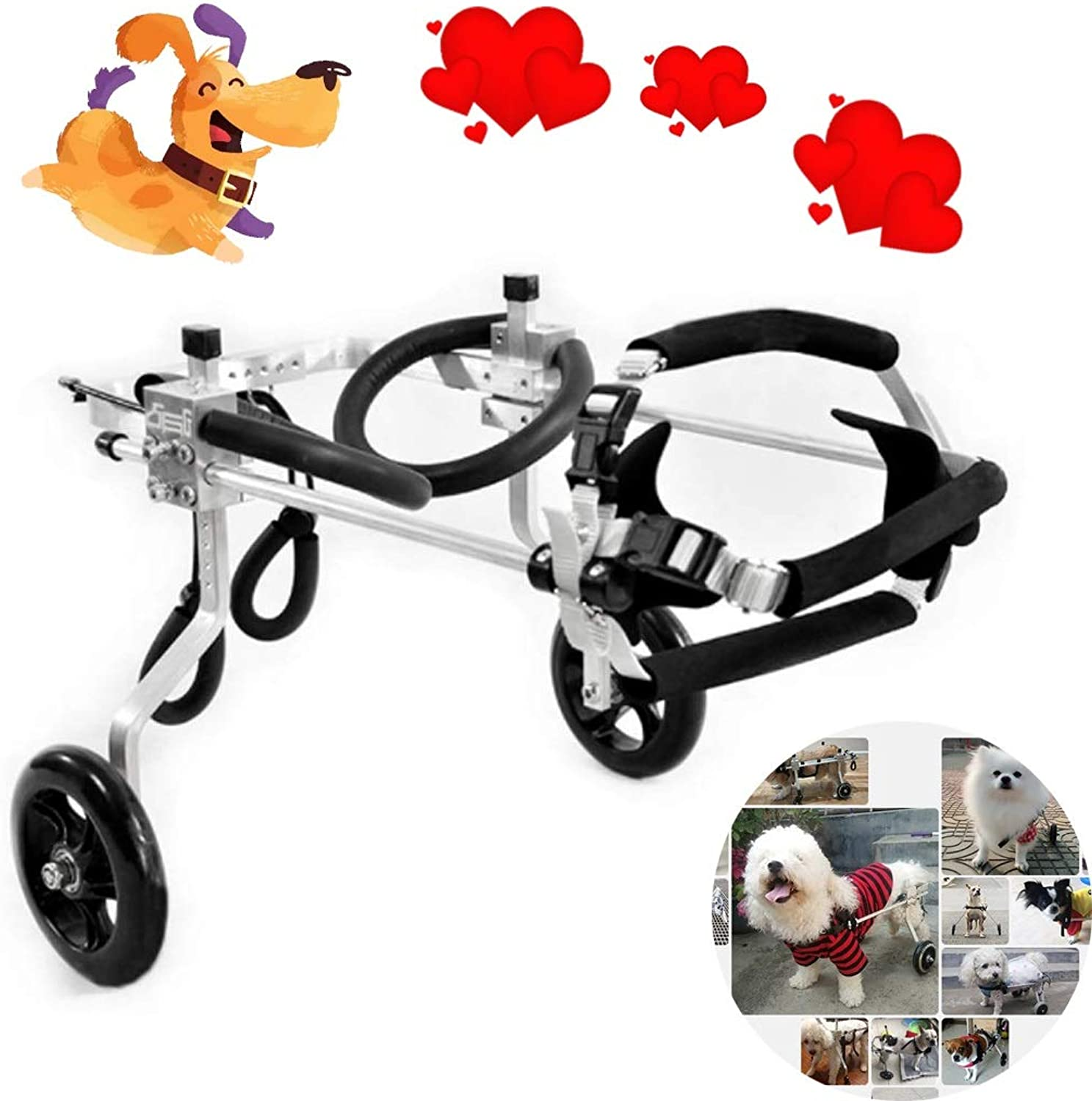 Dog wheelchair Wheels Dog Wheelchair  For most dogs 160 kg  Veterinarian Approved  Wheelchair for Back Legs  For Pet Cat Dog Wheelchair Hind Leg Rehabilitation for Handicapped Dog, 2wheel Hind L