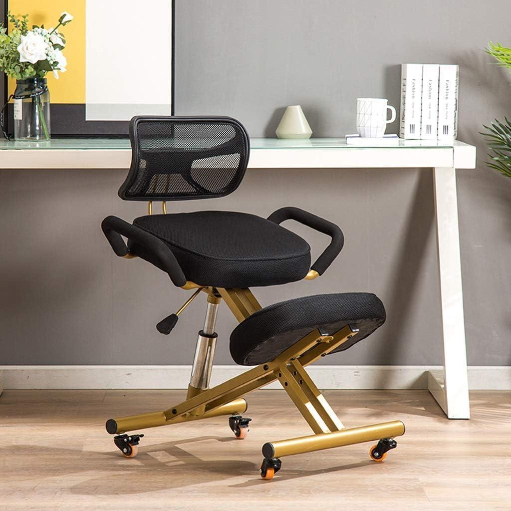 XLGJCWQY Chaises à Genoux Chaises de Bureau Tabouret réglable Position Ergonomique avec Structure en métal Support de poulie arrière (Couleur: Bleu) Black