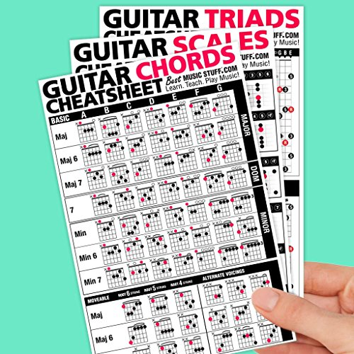 Best Music Stuff Guitar Cheatsheets Bundle (Chords, Scales, and Triads Cheatsheet • Laminated Pocket Reference (Large - 6-in x 9-in)