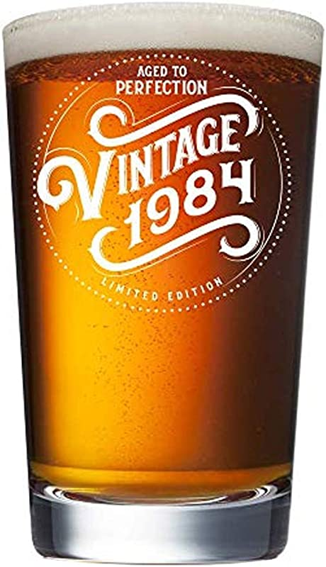 1984 35th Birthday Gifts For Men Women Beer Glass 16 Oz Vintage Pint Glasses Funny Decorations Party Supplies Gift Ideas For Dad Mom Husband Wife Him Her Best Pub Craft Beers Mug Cup 35 Th