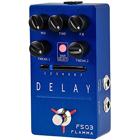 FLAMMA FS03 Delay Pedal Stereo Digital Guitar Effects Pedal with 80 Second Looper 6 Effects Storable Preset Tap Tempo Trail On Function