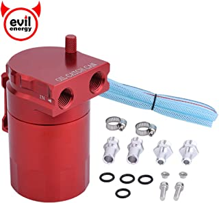 EVIL ENERGY 00590RD Red Universal Aluminum Oil Catch Reservoir Tank Breather Filter Kit 280ml