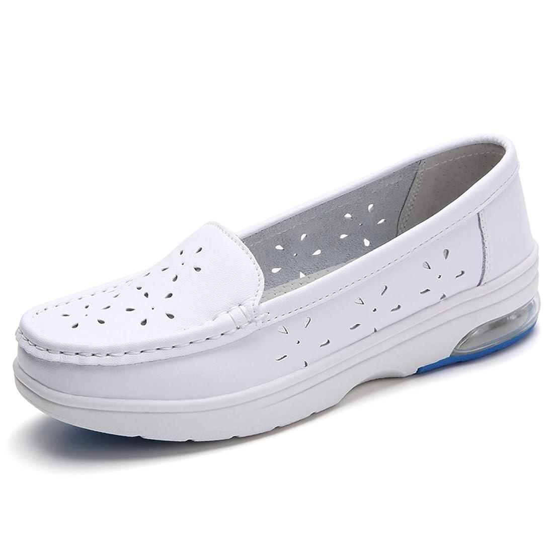 [SILD] ナースシューズ ナースサンダル 介護靴 蒸れない クッション 痛くない 白 蒸れない 合成革 疲れにくい 滑り止め 軽量 通気 看護 レディース 安全靴 ママシューズ 婦人靴 柔軟性 スニーカー