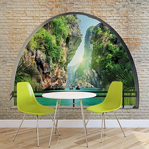 Tropisch raam uitzicht fotobehang wandafbeelding afbeelding behang (2836FW)