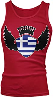 Amdesco Greece Flag Shield, Greek Flag with Crown and Wings Juniors Tank Top