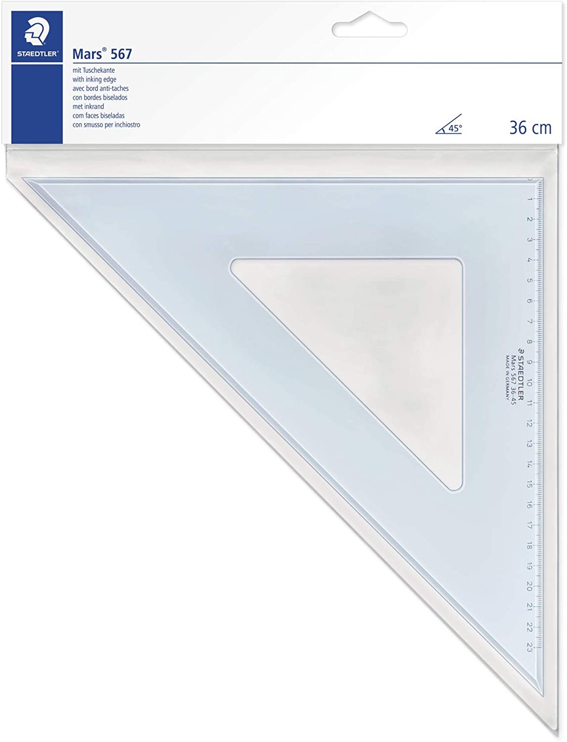 Linex College Set Square 60 Degree Bevelled Edge Long 235mm Tinted Brown Ref LXO625