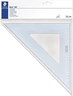 Staedtler 567 36-45 Mars, Équerre Scolaire de 36 Cm 45°/45° en Plastique Bleu Transparent, sous Pochette Plastique