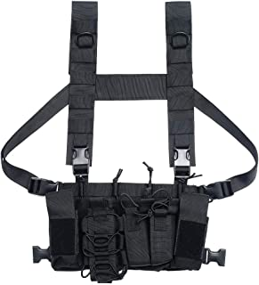 BREEZEY Tactical Chest Rig Bag Radio Harness Chest Front Pouch Holster Military Vest Chest Rig Bag Adjustable Functional Two Way Radio Waist Pack for Men Women