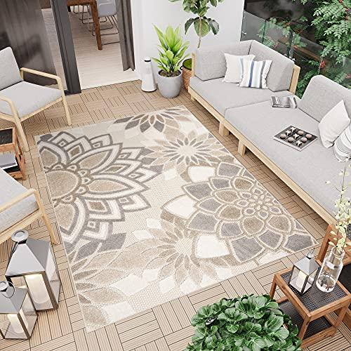 TAPISO Patio Tappeto Moderno Indoor Outdoor per Esterni Tappeto 3D Terazzo Ingresso Cucina Sala Beige Grigio Floreale A Pelo Corto 140 x 200 cm