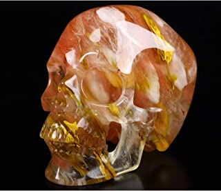 "Skullis 5.0"" Smelted Quartz Super Realistic Crystal Skull, Hand Carved Gemstone Fine Art Sculpture, Reiki Healing Stone St..."