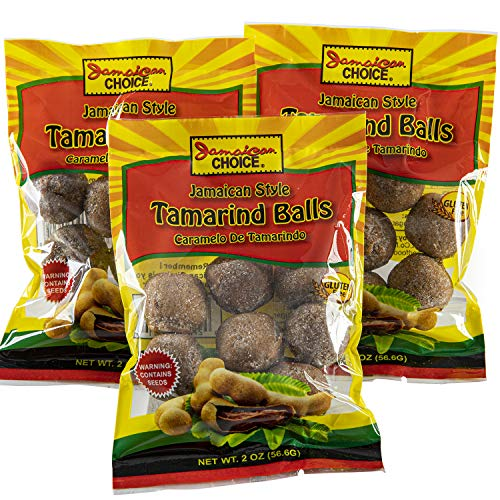 Jamaican Style Tamarind Balls, Sweet And Sour, Caramelo De Tamarindo (2 oz Bags) 3-Pack