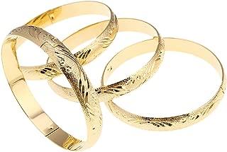 4pcs Dubai Gold Bangle Bracelet 18k Gold Plated Women Decoration Party Bangle African Ethiopian Jewelry