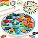 CozyBomB Magnetic Wooden Fishing Game Toy for Kids - Alphabet Fish Catching Counting