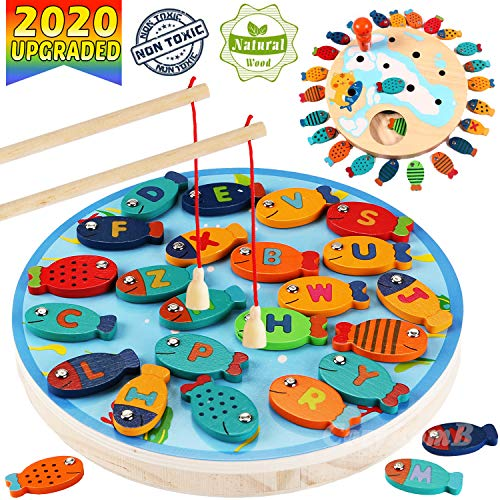 CozyBomB Magnetic Wooden Fishing Game Toy for Toddlers -...