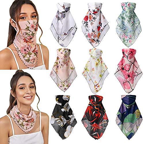 9 paquets protection solaire foulard en soie couverture du visage en mousseline de soie cou impression couverture du visage été anti-poussière en plein air cou bouche couverture pour femmes filles
