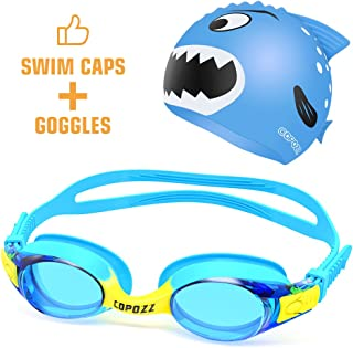 COPOZZ Kids Swimming Goggles, Child (Age 4-12) Waterproof Swim Goggles Clear Vision Anti Fog UV Protection No Leak Soft Silicone Frame for Kid Boys Girls