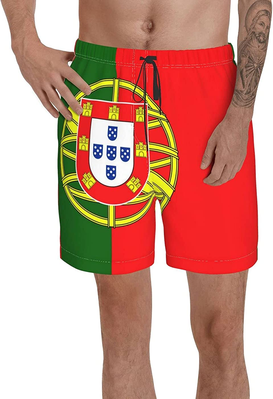 Count Portugal Flag Men's 3D Printed Funny Summer Quick Dry Swim Short Board Shorts with