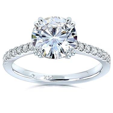 Kobelli Moissanite and Lab Grown Diamond Engagement Ring 2 1/10 CTW 14k White Gold (HI/VS, DEF/VS)