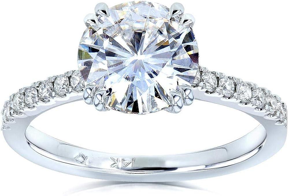 Kobelli Moissanite and Lab Grown Diamond Engagement Ring 1 3/4 CTW 14k White Gold (GH/VS, DEF/VS)
