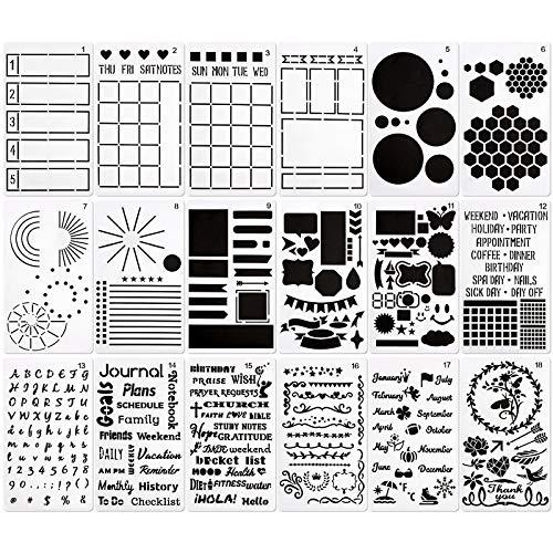 Gukasxi 18 Stück Bullet Schablonen-Set Kinder Zeichenschablonen Journal Planer Schablonen für Notizbuch, Journal Planer Schablonen Dot Journals und Planer-Layout, Zeitplan, Gewohnheiten-Tracker, Ziele