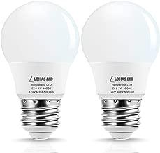 LOHAS LED Refrigerator Light Bulb, 40W Equivalent 120V A15 LED Lamp, 5 Watt Daylight 5000K with E26 Medium Base, Energy Saving Freezer Ceiling Home Lighting, Not-Dim, Waterproof, 2 Pack