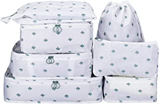Packing Cubes 7 Sets Travel Luggage Organizers with Waterproof Shoe Storage Bag Compression Pouches (White Cactus)
