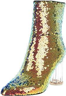 BeiaMina Botas de tacón transparente y puntera estrecha para mujer