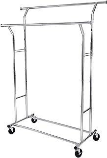 SONGMICS UHSR12S Heavy Duty Metal Coat Rack Stand 110kg Heavy Duty Clothes Rack on Wheels Length 129-169 cm Chrome