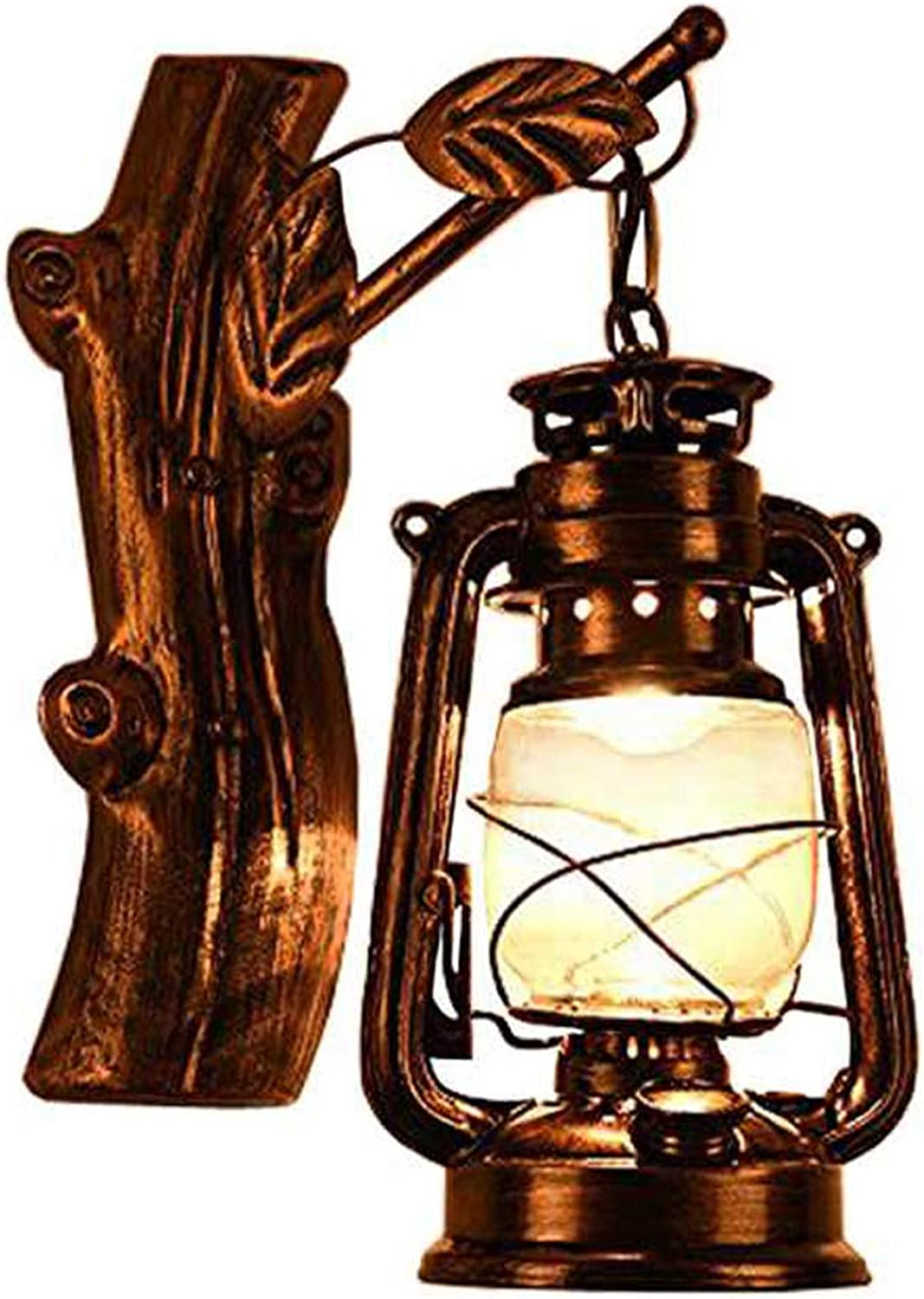 JINGUO Lighting Rustic Lantern Wall Mounted Light Industrial Vintage Creative Wood Wall Sconce Wall Lamp Lights Sconces Fixture Nautical Style with Glass Clear Shade in Age Bronze for Indoor Restauran