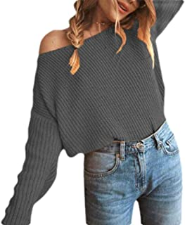 Womens Sexy Pullover Sweaters One Shoulder Chunky Knit Jumpers