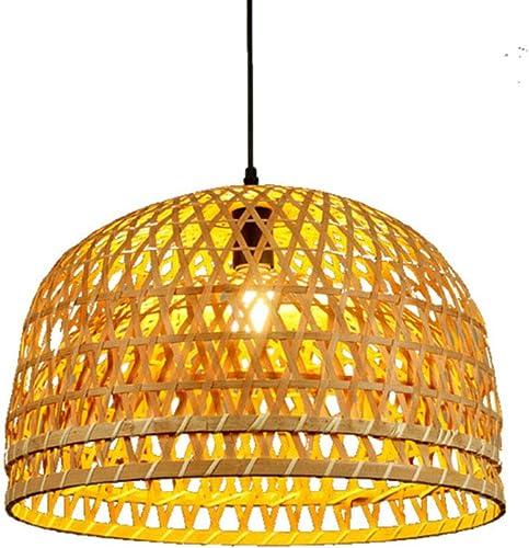 DXQWAN Suspension de Lanterne de Style rétro, Abat-Jour en Bambou, Lustre de Salon de Chambre à Coucher Salon de thé Salle à Manger Bar café Club Lampe Suspendue en Bambou E27,33CM