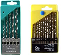 Quality Motto Drill Bit Set of 13 for Wood, Malleable Iron, Aluminium, Plastic and Masonry with Set of 5 Pieces for Concrete and Brick Wall Drilling
