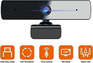 Webcam with Microphone, 1080P HD Web Camera for Computer (30fps), Plug & Play USB Webcam, Built-in Dual Mic, Multi-Compatible, for Video Conferencing, Recording, and Streaming