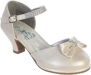 2cace3e87f9 Swea Pea   Lilli Girls Dress Shoes Heel Pump with Rhinestone Strap Bow Kids  Youth