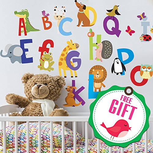 ABC Stickers Alphabet Decals  Animal Alphabet Wall Decals  Classroom Wall Decals  ABC Wall Decals  Wall Letters Stickers  Wall Stickers for Kids ABC Letters  Gift Included