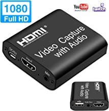 LEADNOVO Audio Video HDMI Capture Card with Loop Out, 4K HD 1080P 60FPS USB 2.0 HDMI Capture Card for Live Streaming Video Recording for PS3/4, Xbox One & Xbox 360, Switch, DSLR, Camcorders
