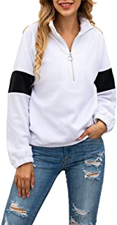 Women's 2019 Stand-up Collar Sweatshirt Long Sleeves Tops Short Zip Up Sweater Solid Color Jackets