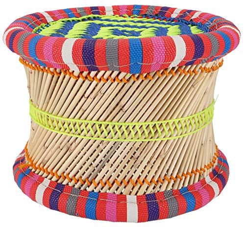 Guru-Shop Kleurrijke Ronde Rieten Kruk in Felle Kleuren - 22 cm, Meerkleurig, Reed, Zitmeubilair