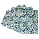Chumbak European Floral Placemats - Table Linen, Cotton Placemats, Rectangular Table Mats, Dining Table Décor, Kitchen Table Mats, Set of 6, Size 18.9'x13.0'